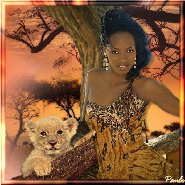 La Lionne de Noah et le lionceau au coucher du soleil...